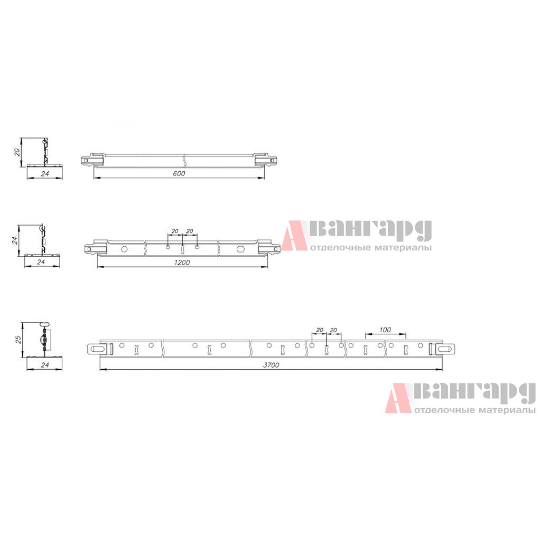 Подвесная система T-24 ЭКОНОМ (белый матовый)
